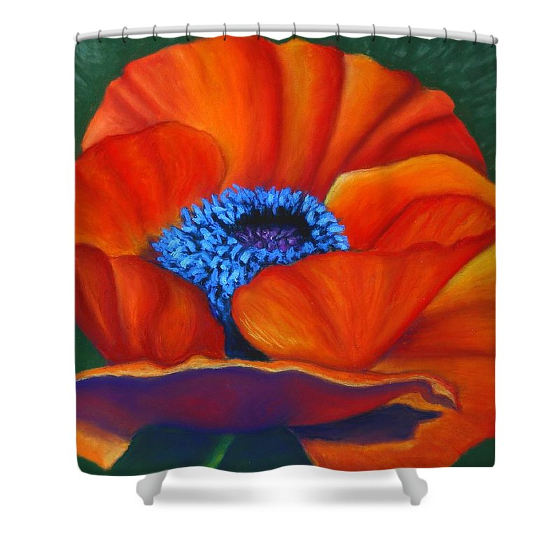 Red Flower Shower Curtain featuring the painting Poppy Pleasure by Minaz Jantz
