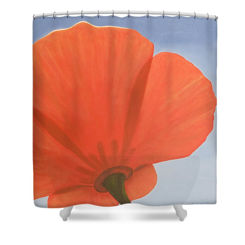 Flower Shower Curtain featuring the painting Poppy by Rob De Vries
