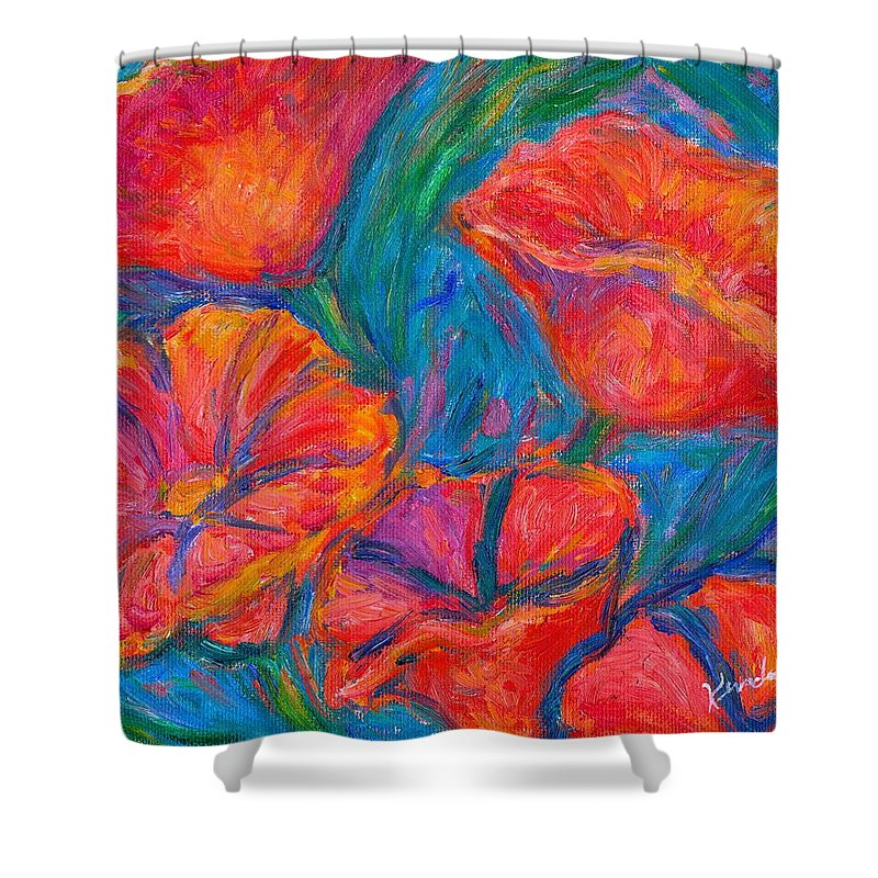 Flower Shower Curtain featuring the painting Poppy Twirl by Kendall Kessler