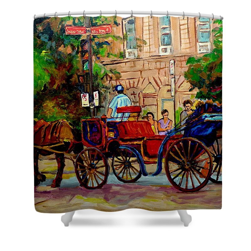 Old Montreal Shower Curtain featuring the painting Popular Quebec Artists Carole Spandau Painter Of Scenes De Rue Montreal Street Scenes by Carole Spandau