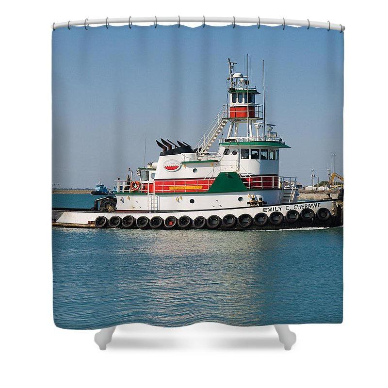 Emily; C; Cheramie; Tug; Tugboat; Bow; Offshore; 3600; Hp; Class; Work; Working; Workboat; Dredge; D Shower Curtain featuring the photograph Popular Sight At Port Canaveral On Florida by Allan Hughes