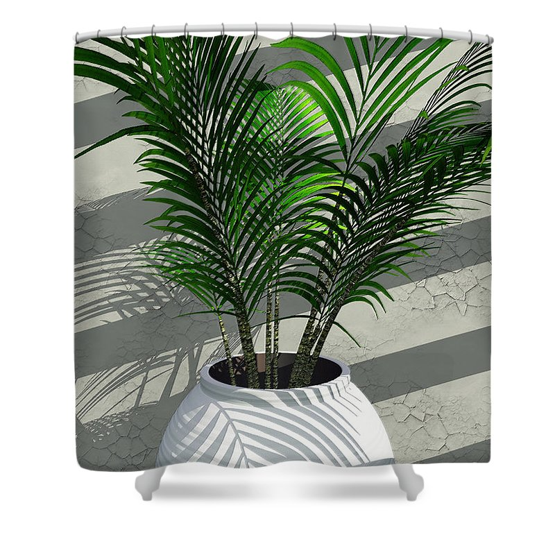 Palms Shower Curtain featuring the digital art Porch Plant by Richard Rizzo