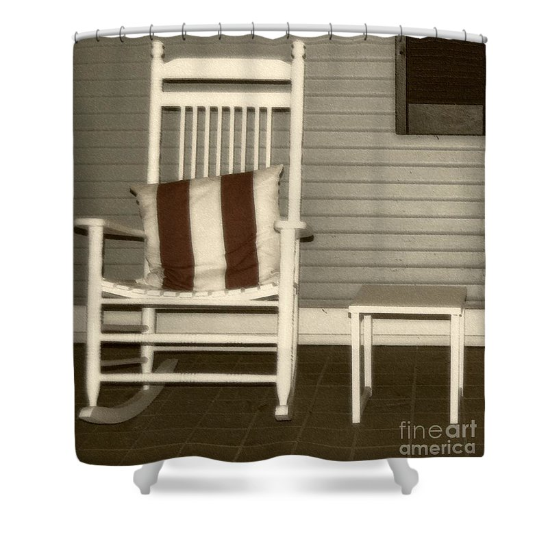 Rocking Chair Shower Curtain featuring the photograph Porch Rocker by Debbi Granruth