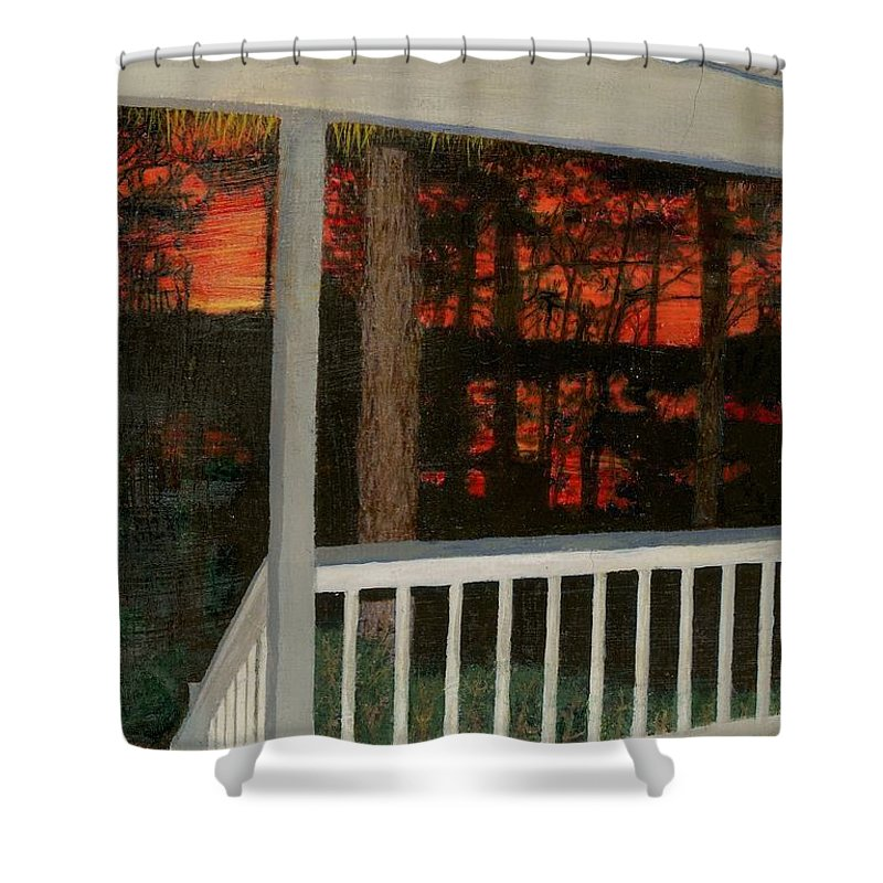 Porch Shower Curtain featuring the painting Porchlight by Sherryl Lapping