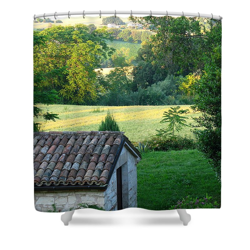 Porco Vecchio Fienile Shower Curtain featuring the photograph Porco Vecchio Fienile by Maria Joy