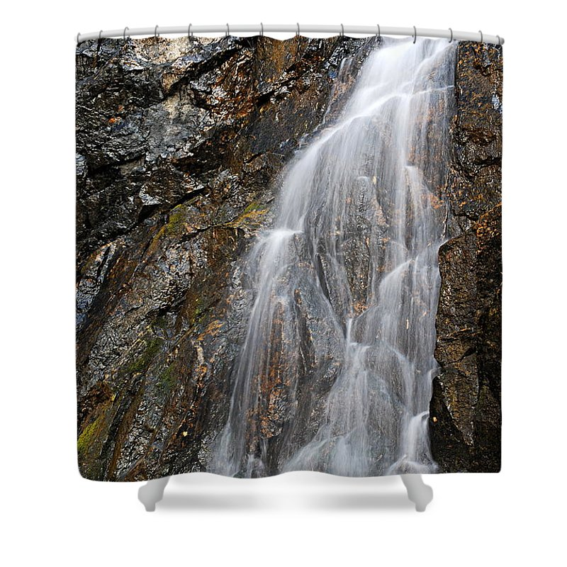 Porcupine Falls Shower Curtain featuring the photograph Porcupine Falls Side Chute by Larry Ricker