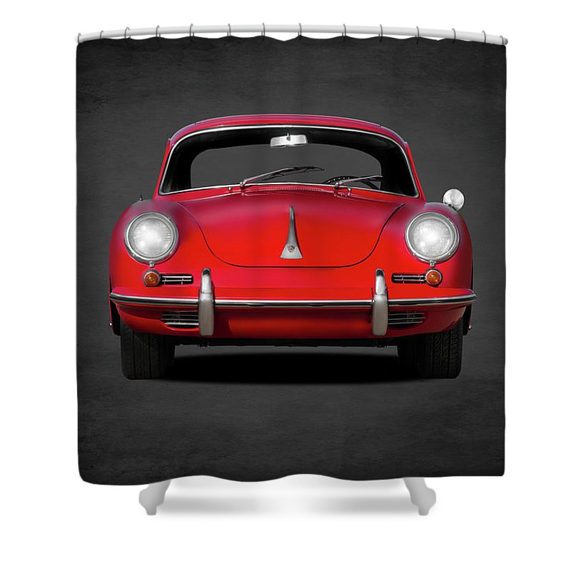 Porsche Shower Curtain featuring the photograph Porsche 356 by Mark Rogan