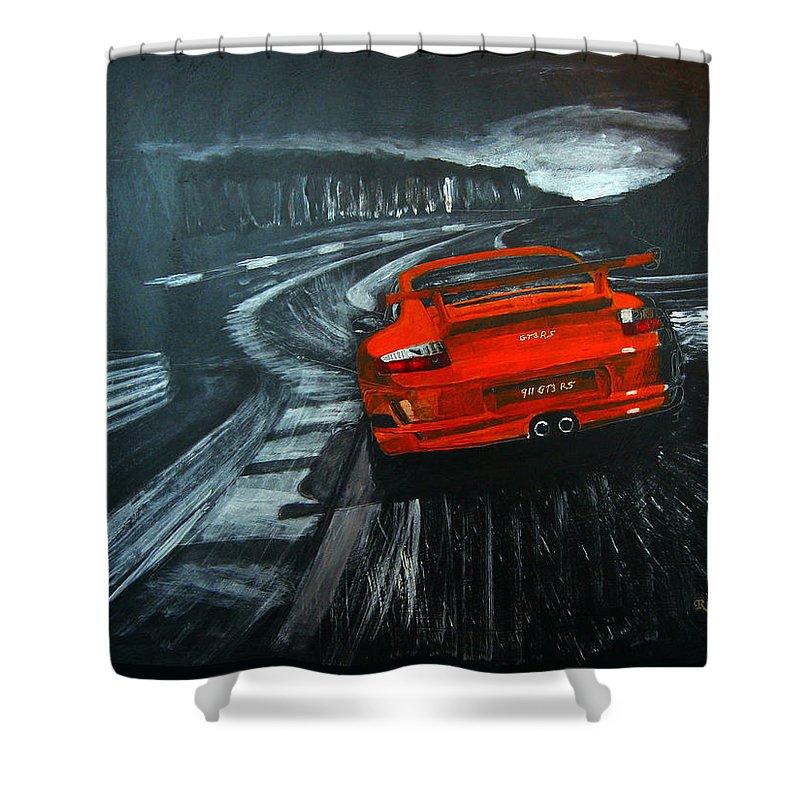 Porsche Shower Curtain featuring the painting Porsche Gt3 Le Mans by Richard Le Page