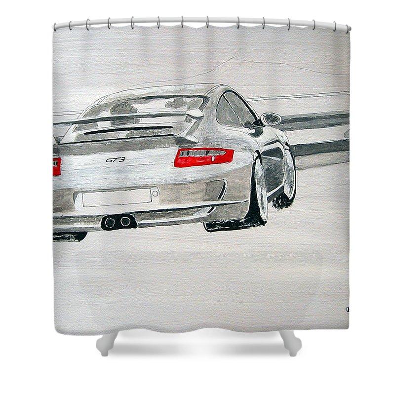 Porsche Gt3 Shower Curtain featuring the painting Porsche Gt3 by Richard Le Page
