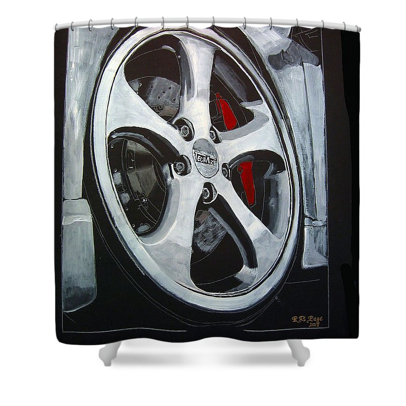 Porsche Shower Curtain featuring the painting Porsche Techart Wheel by Richard Le Page