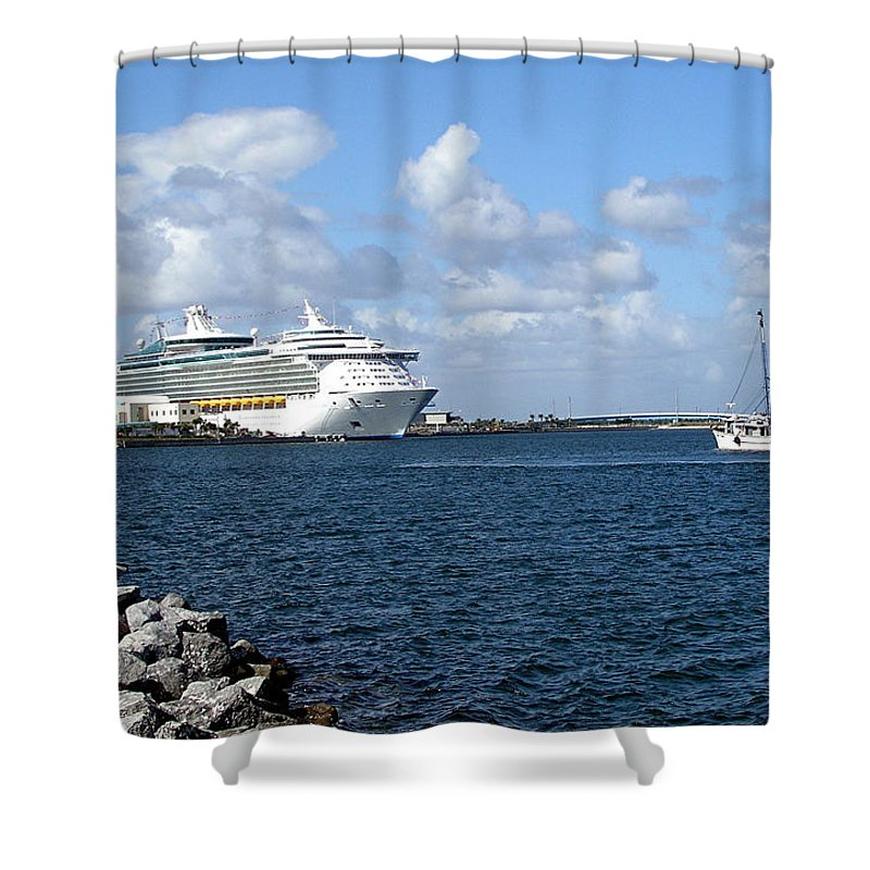 Cruise; Ships; Cruiseship; Ocean; Liner; Oceanliner; Port; Canaveral; Florida; Harbor; Harbour; Blue Shower Curtain featuring the photograph Port Canaveral In Floirda by Allan Hughes