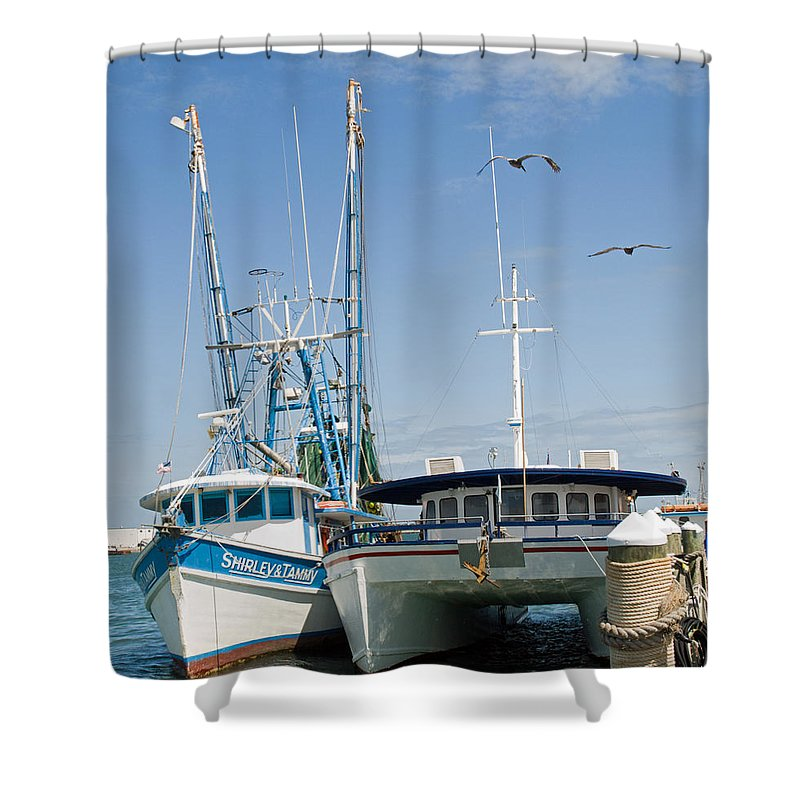 Florida; East; Coast; Atlantic; Ocean; Sea; Port; Canaberal; Harbor; Harbour; Boat; Shrimp; Party; C Shower Curtain featuring the photograph Port Canaveral On The East Coast Of Florida by Allan Hughes