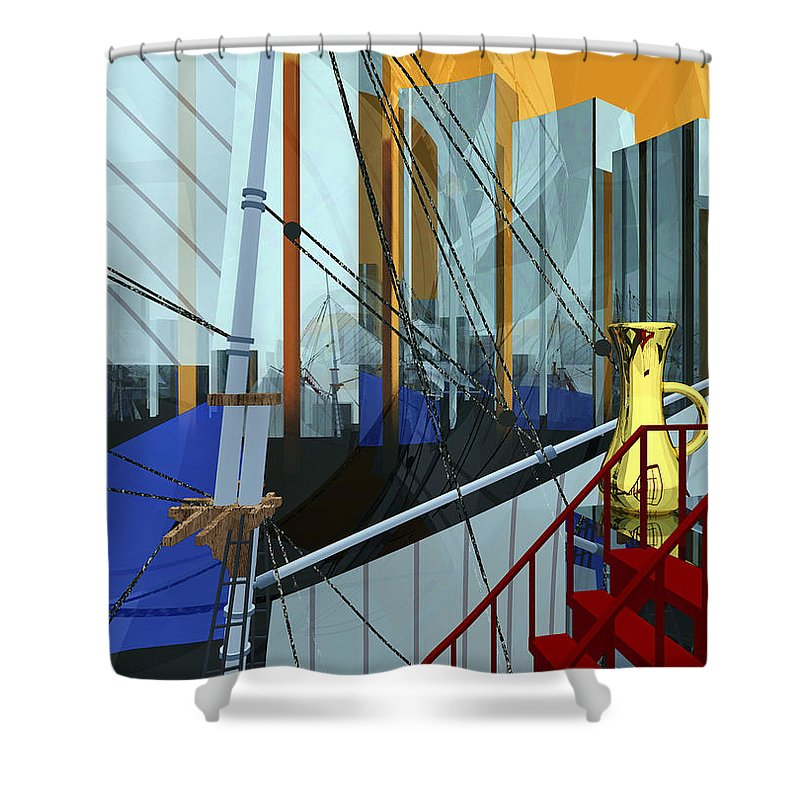 Abstract Shower Curtain featuring the digital art Port Of Call by Richard Rizzo