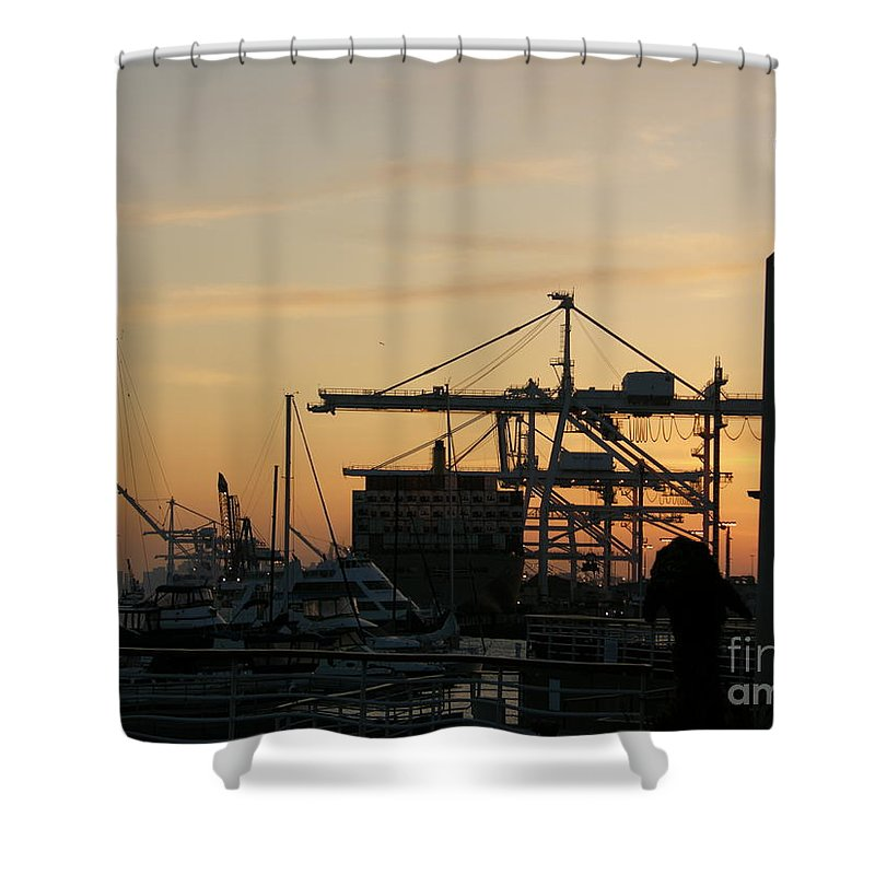 Oakland Shower Curtain featuring the photograph Port Of Oakland Sunset by Carol Groenen