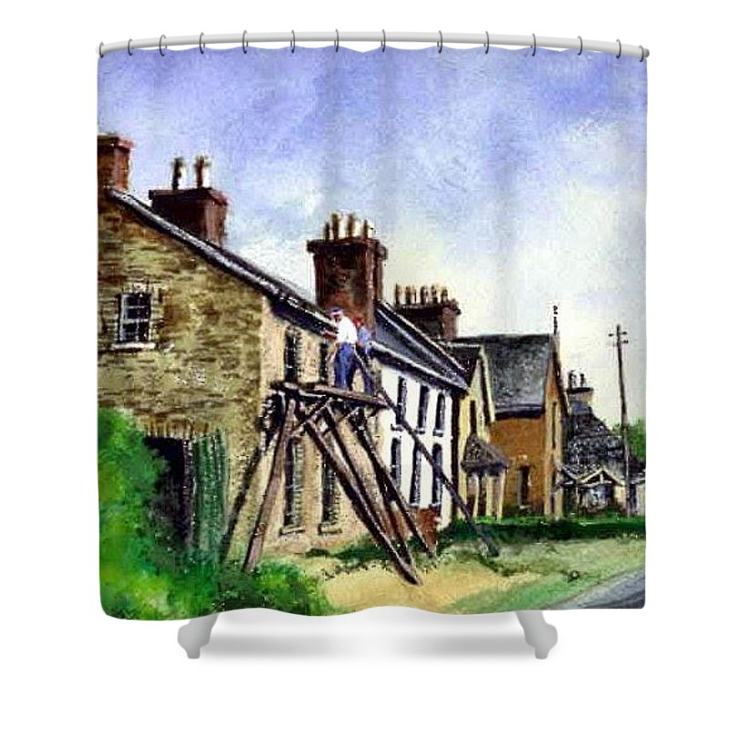 Water Color Shower Curtain featuring the painting Port Rush Gutter Repair by Jim Gola