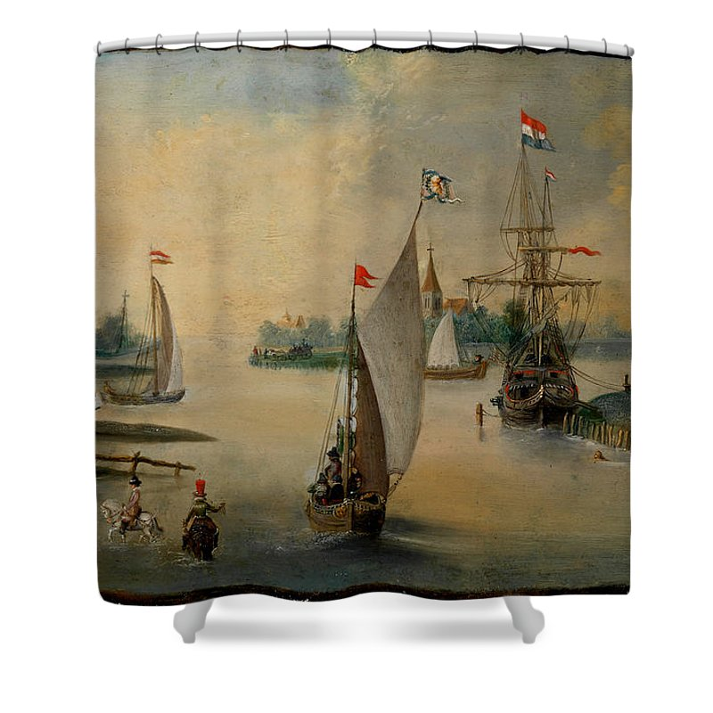 Hendrick Avercamp Shower Curtain featuring the painting Port Scene With Sailing Ships by Hendrick Avercamp