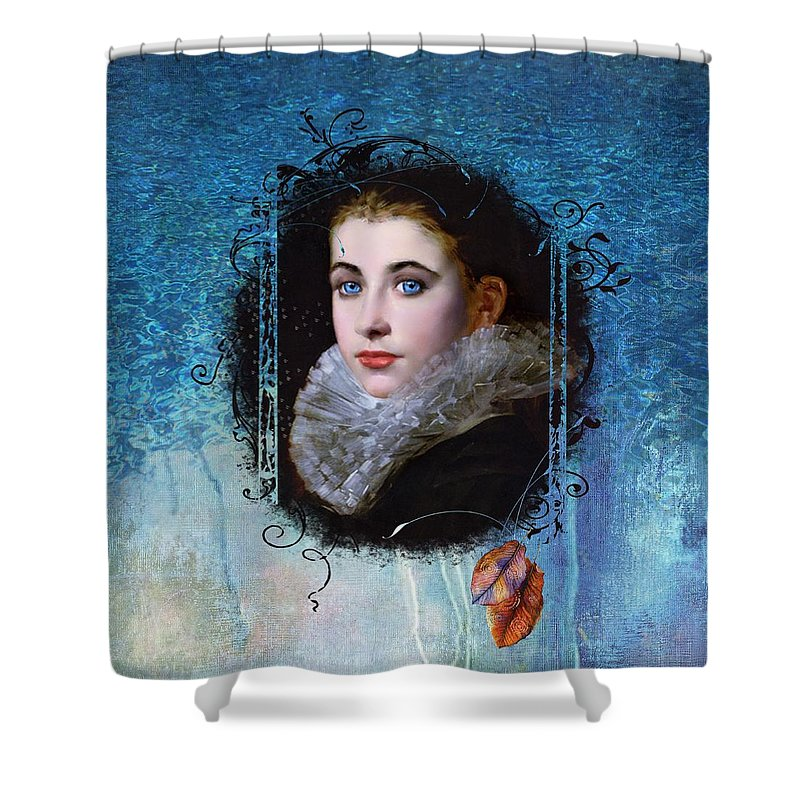 Women.vintage Shower Curtain featuring the painting Portal Portrait by Laura Botsford
