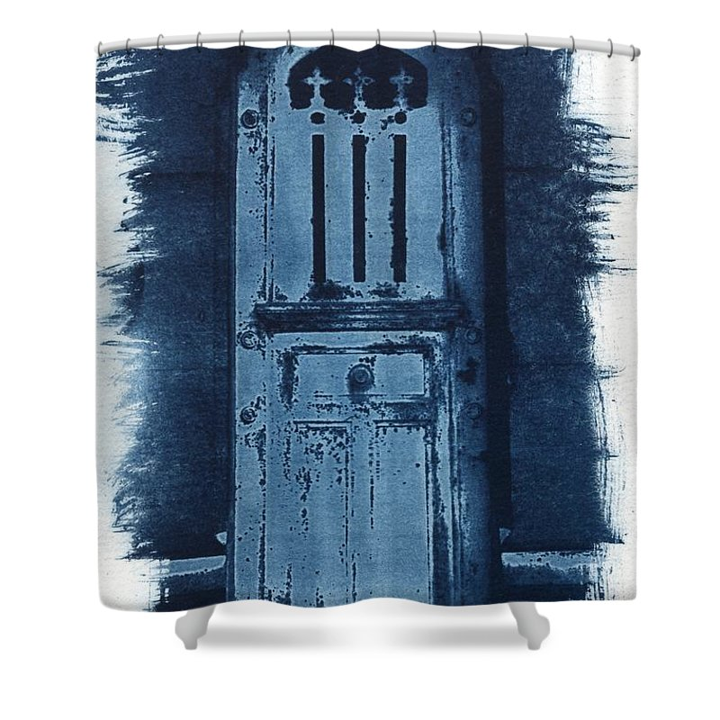 Cyanotype Shower Curtain featuring the photograph Portals by Jane Linders