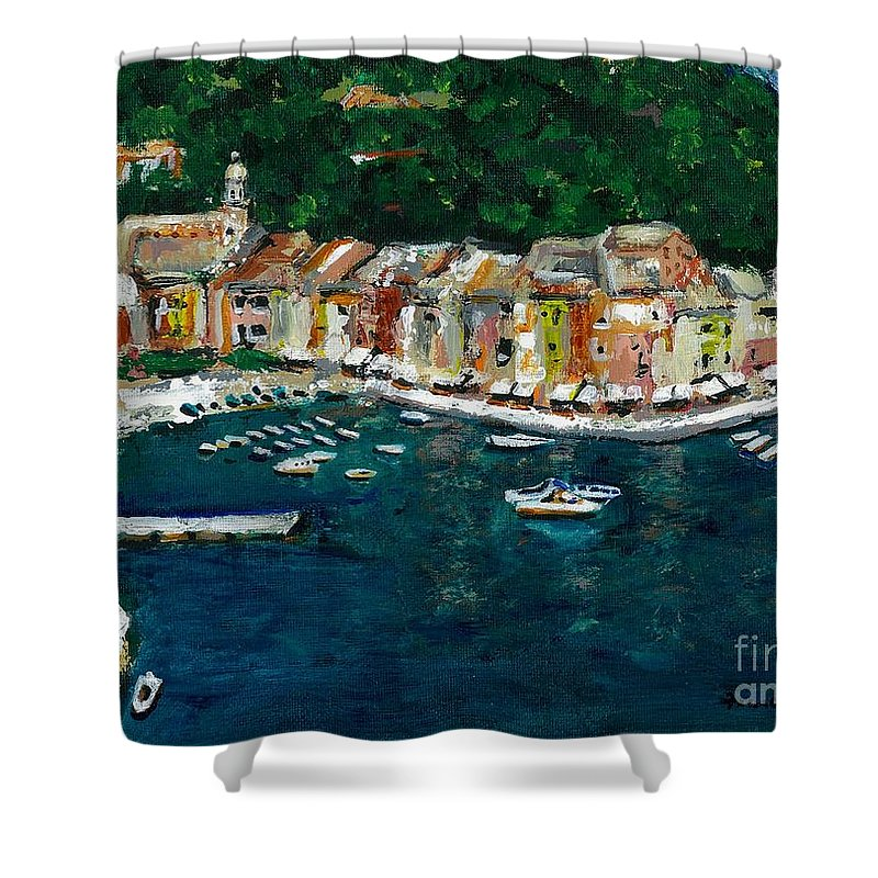 Abstact Italy Shower Curtain featuring the painting Portifino Italy by Frances Marino