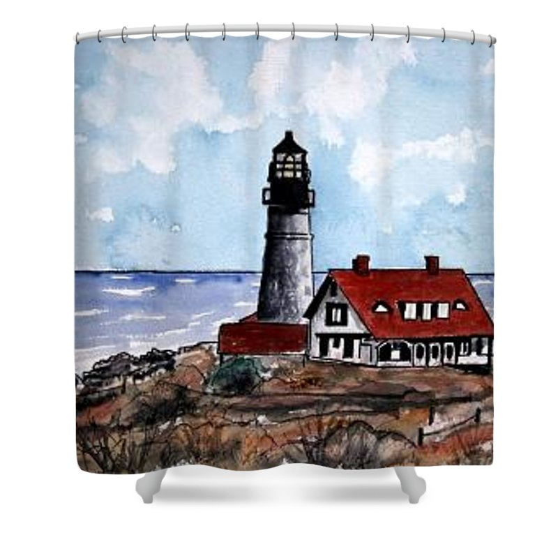 Lighthouse Paintings Shower Curtain featuring the painting Portland Head Lighthouse by Derek Mccrea