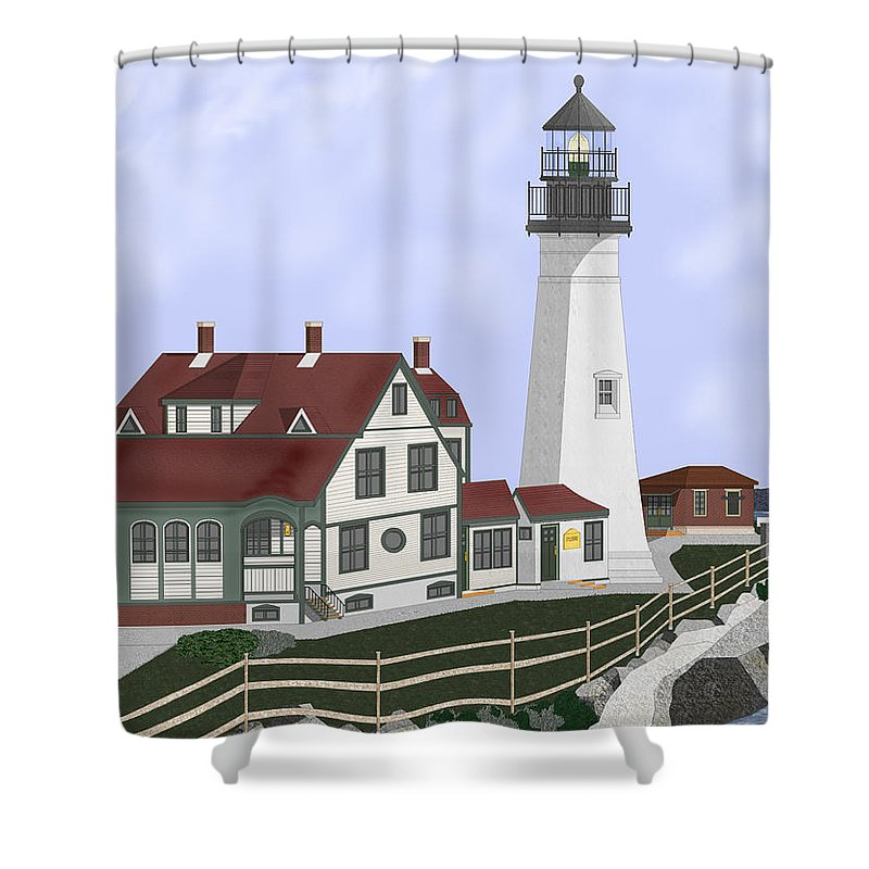 Portland Head Lighthouse Shower Curtain featuring the painting Portland Head Maine On Cape Elizabeth by Anne Norskog