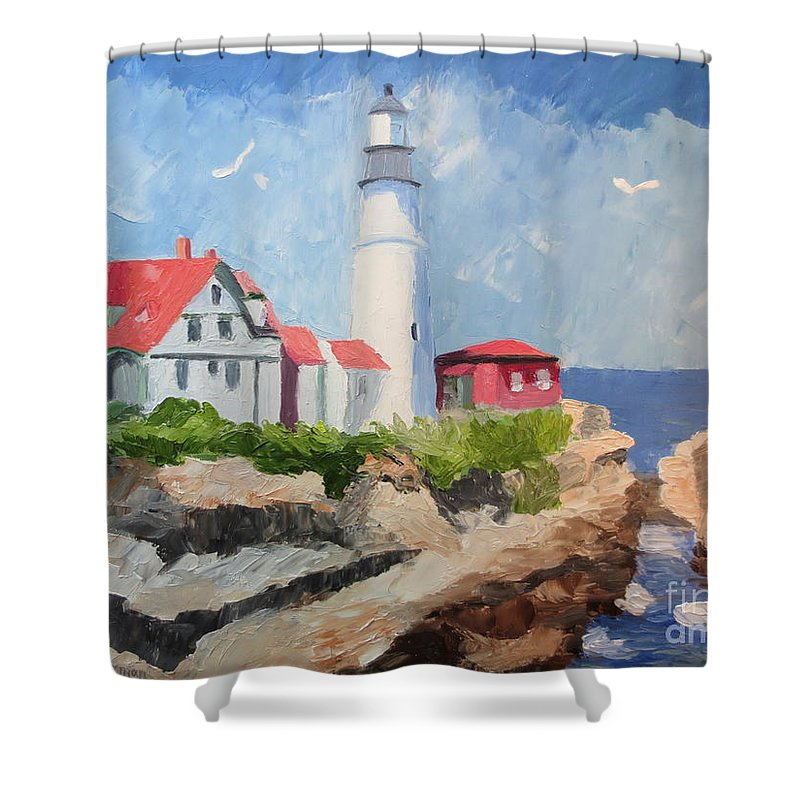 Stella Sherman Shower Curtain featuring the painting Portland Headlight By The Sea by Stella Sherman
