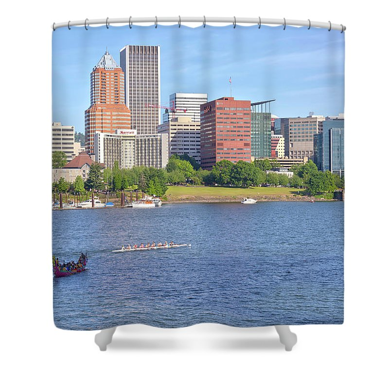 Portland Shower Curtain featuring the photograph Portland Oregon Skyline And Rowing Boats. by Gino Rigucci