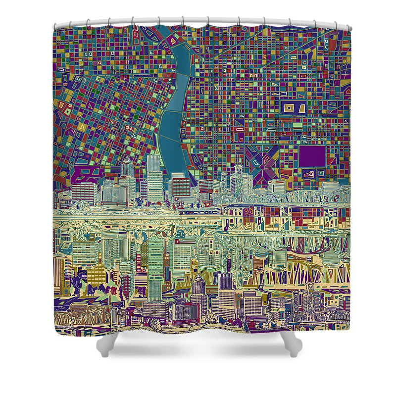 Portland Shower Curtain featuring the painting Portland Skyline Abstract 7 by Bekim M