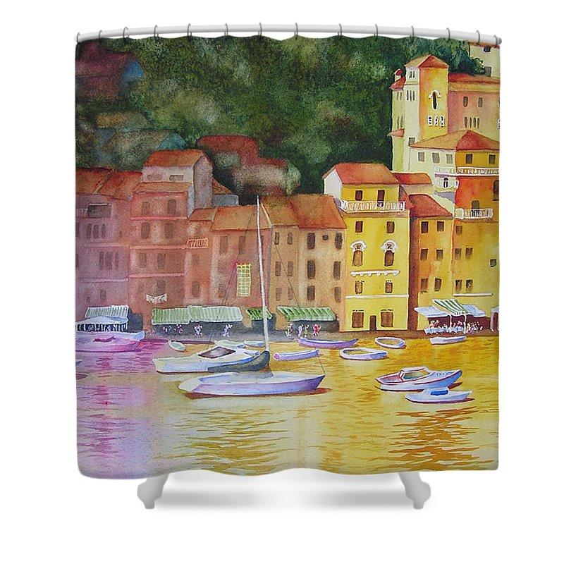 Italy Shower Curtain featuring the painting Portofino Afternoon by Karen Stark