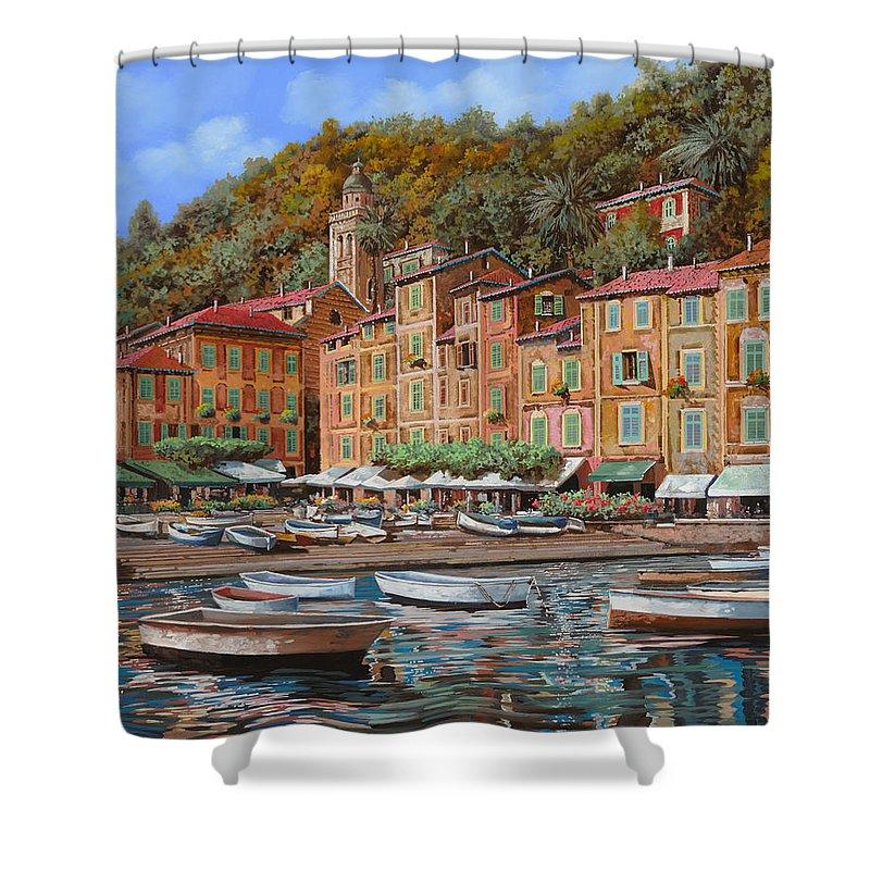 Portofino Shower Curtain featuring the painting Portofino-la Piazzetta E Le Barche by Guido Borelli