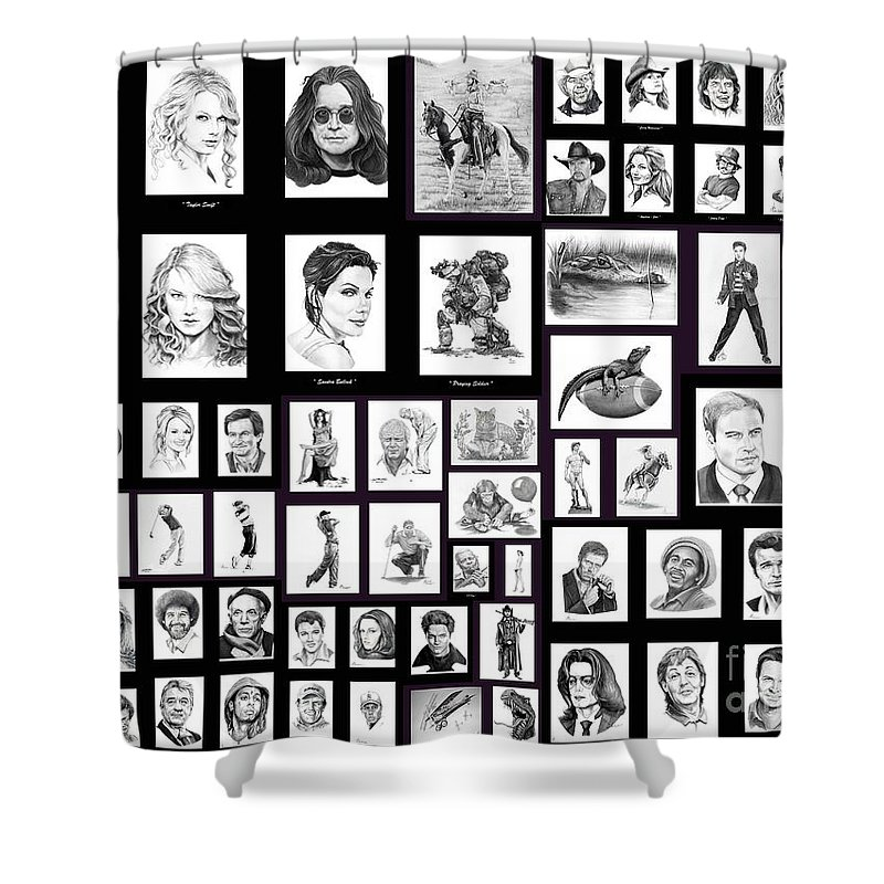 Portraits Shower Curtain featuring the drawing Portrait And Illustrations On Fine Art America by Murphy Elliott