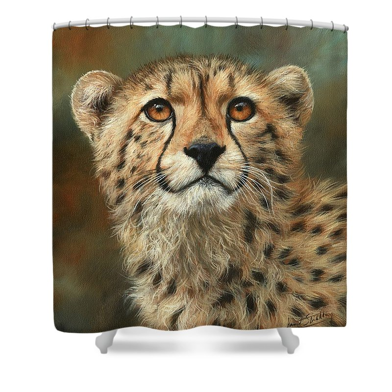 Cheetah Shower Curtain Featuring The Painting Portrait Of A By David Stribbling