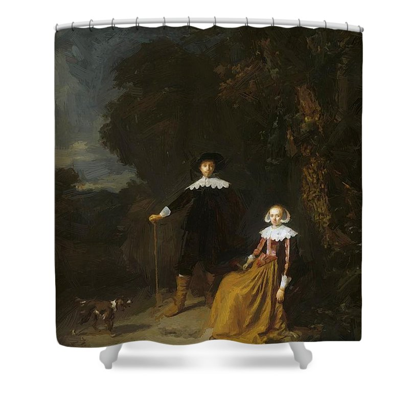 Portrait Shower Curtain featuring the painting Portrait Of A Couple In A Landscape by Dou Gerrit