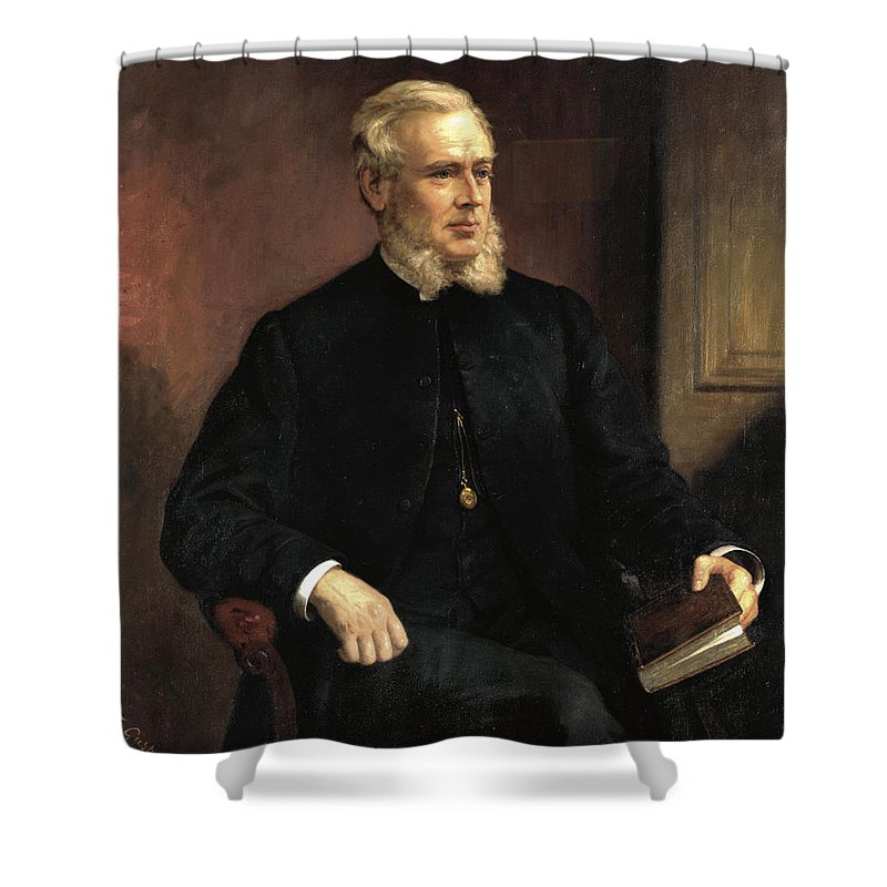 Ernest Gustave Girardot Shower Curtain featuring the painting Portrait Of A Gentleman by Ernest Gustave Girardot