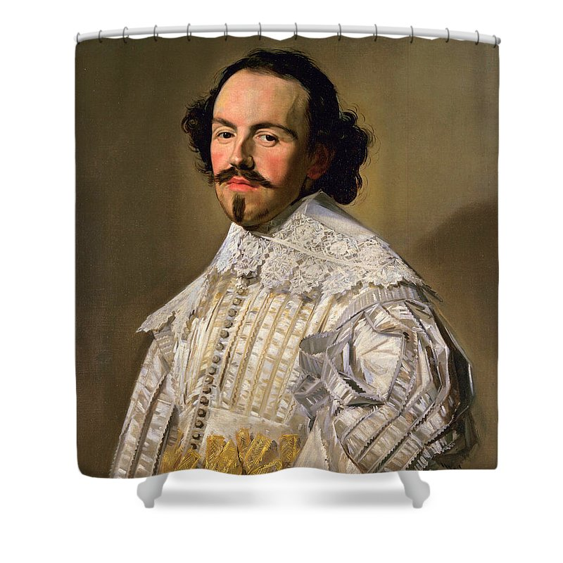 Frans Hals Shower Curtain featuring the painting Portrait Of A Gentleman In White by Frans Hals