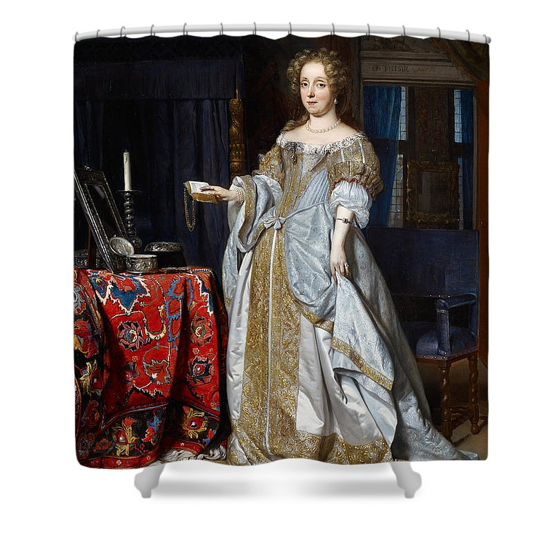 Gabriel Metsu Shower Curtain Featuring The Painting Portrait Of A Lady Lucia Wijbrants By