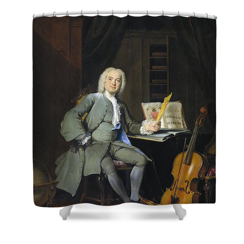 Age Shower Curtain featuring the painting Portrait Of A Member Of The Van Der Mersch Family, 1736 by Cornelis Troost
