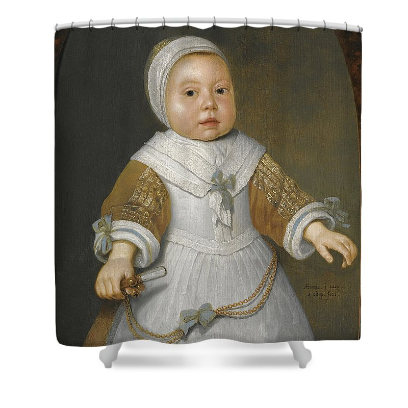 Aelbert Cuyp Shower Curtain featuring the painting Portrait Of A One-year-old Girl Of The Van Der Burch Family Three-quarter Length by Aelbert Cuyp