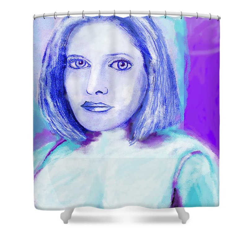 Woman Shower Curtain featuring the drawing Portrait Of A Woman by Eric Schiabor