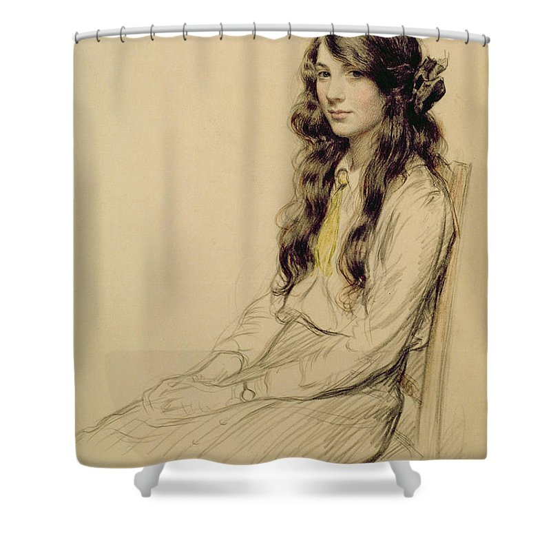 Portrait Shower Curtain featuring the drawing Portrait Of A Young Girl by Frederick Pegram