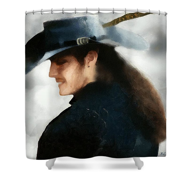 Buccaneer Shower Curtain featuring the painting Portrait Of A Young Man As A Buccaneer by RC DeWinter
