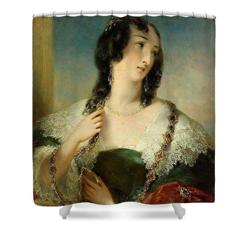 Edmund Thomas Parris Shower Curtain featuring the painting Portrait Of A Young Woman by Edmund Thomas Parris