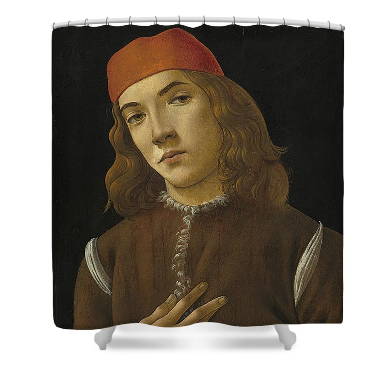Sandro Botticelli Shower Curtain featuring the painting Portrait Of A Youth by Sandro Botticelli