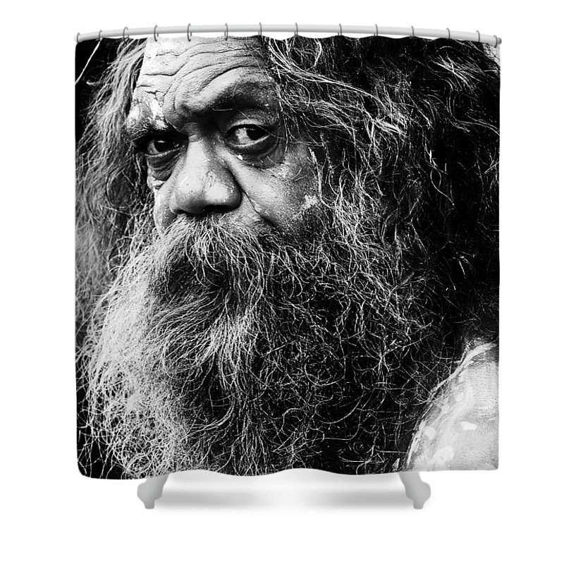Aborigine Aboriginal Australian Shower Curtain featuring the photograph Portrait Of An Australian Aborigine by Sheila Smart Fine Art Photography
