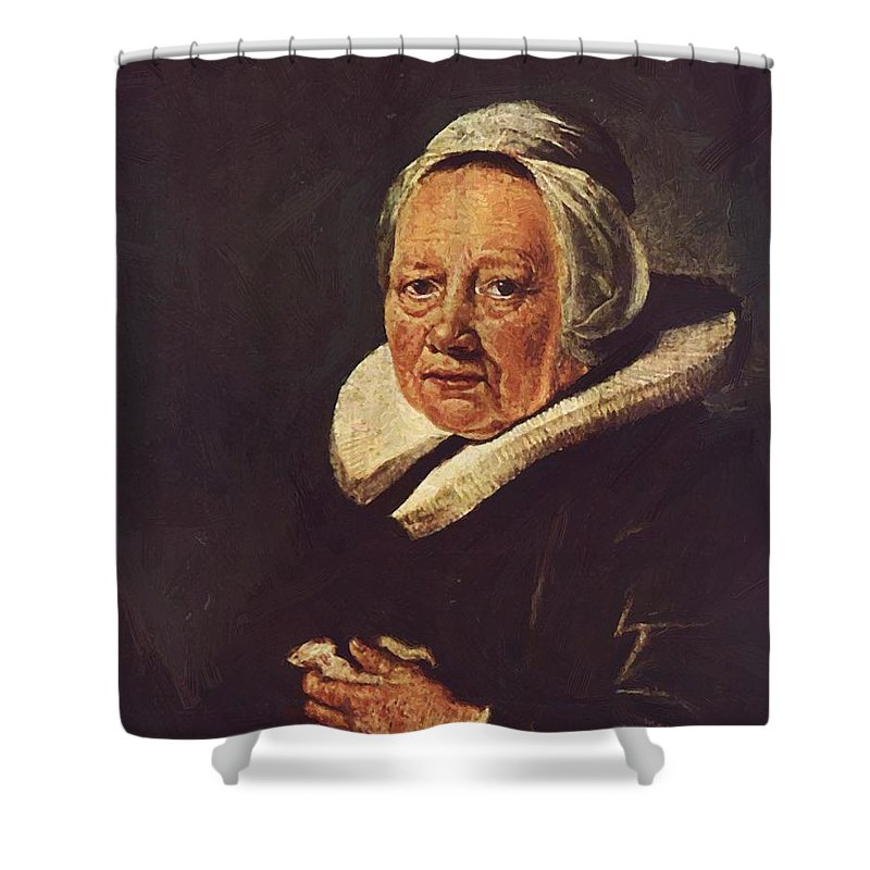 Portrait Shower Curtain featuring the painting Portrait Of An Old Woman 1645 by Dou Gerrit