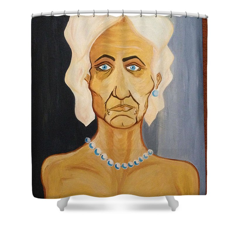 Portrait Of An Old Woman Perls Nude Eld Shower Curtain featuring the painting Portrait Of An Old Woman by Costin Tudor