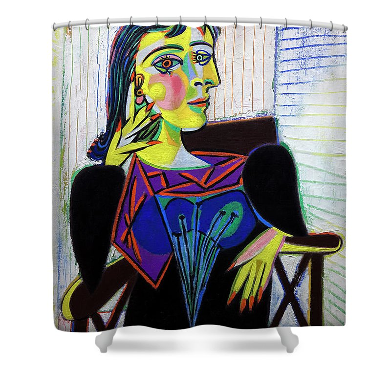 1937 Shower Curtain Featuring The Photograph Portrait Of Dora Maar By Pablo Picasso