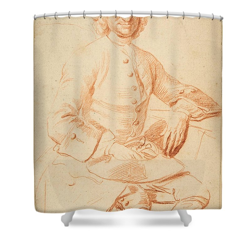 Thomas Hudson Shower Curtain featuring the drawing Portrait Of George Graham  by Thomas Hudson