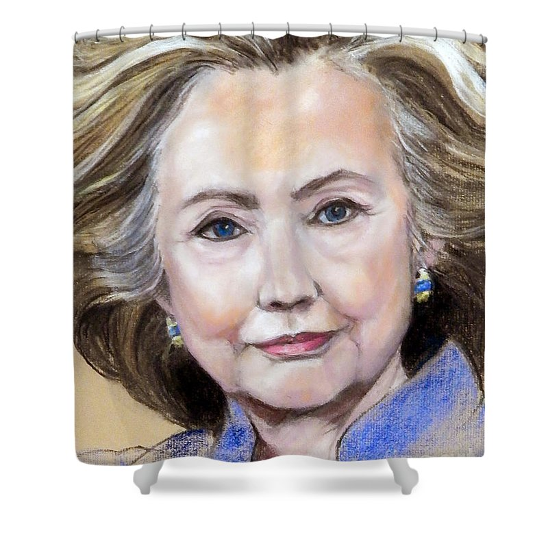 Painted Portrait Shower Curtain featuring the painting Pastel Portrait Of Hillary Clinton by Greta Corens