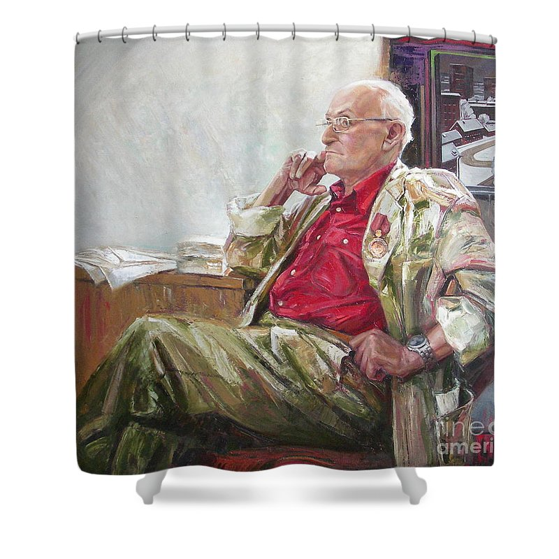 Oil Shower Curtain featuring the painting Portrait Of May Dancig by Sergey Ignatenko